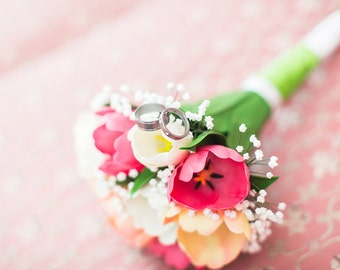 Wedding bouquet Tulips - Polymer Clay Flowers - Bridal bouquet