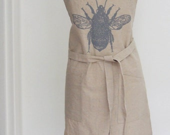 Bumble Bee hand printed  natural Linen modern apron with pockets