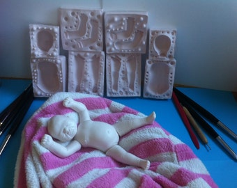 6.9 Inch Newborn Baby Doll. Flexible Silicone Press Mold For Polymer Clay (Sculpey, Fimo, etc.)