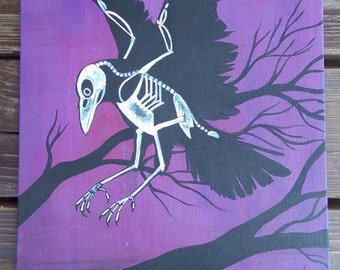 Skeleton Crow Acrylic Painting // Canvas board