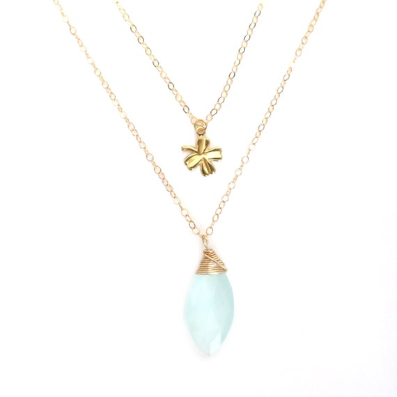 Aqua Chalcedony and Four Leaf Clover Pendant Layer Necklace