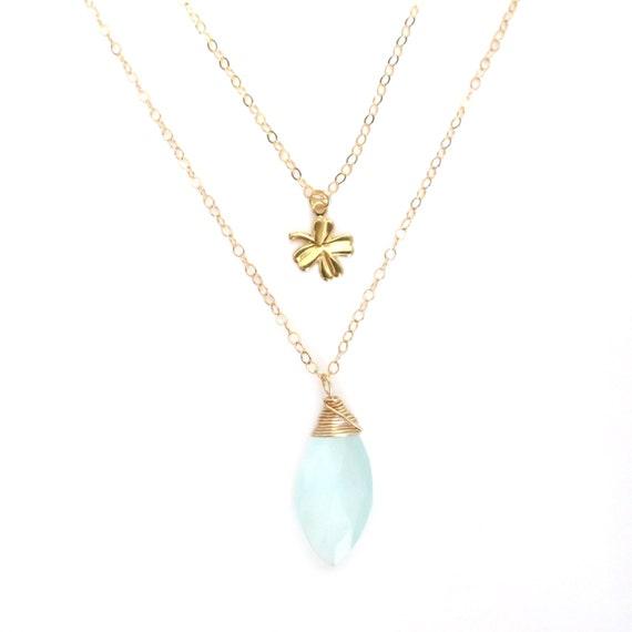 multi strand necklace, multi layer necklace, aqua blue chalcedony necklace, four leaf clover necklace, gold necklace, gold clover