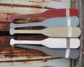 30 inch wooden oars, hand painted wood oars, nautical decor, beach decor, coastal decor,  fishing decor