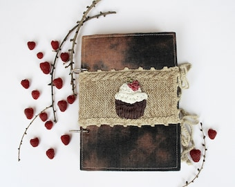 Hand Embroidered And Painted Notebook, Cupcake With Raspberry,Kitchen & Gourmet, Ribbon Embroidery, Recipe Book, READY TO SHIP,