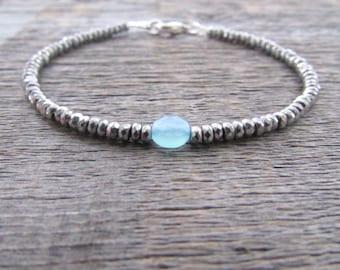 Chalcedony Bracelet, Bead Bracelet, Gemstone Bracelet, Vegan Bracelet, Chakra Bracelet, Stack Bracelet, Energy Bracelet, Women's Bracelet
