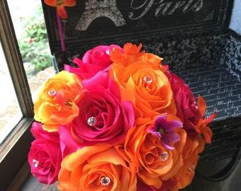 Orange Hot Pink Wedding Bouquet with Boutonniere, Pink Orange Bouquet, Hot Pink Bouquet Bridal Bouquet Bridesmaid Hot Pink Orange Bridesmaid