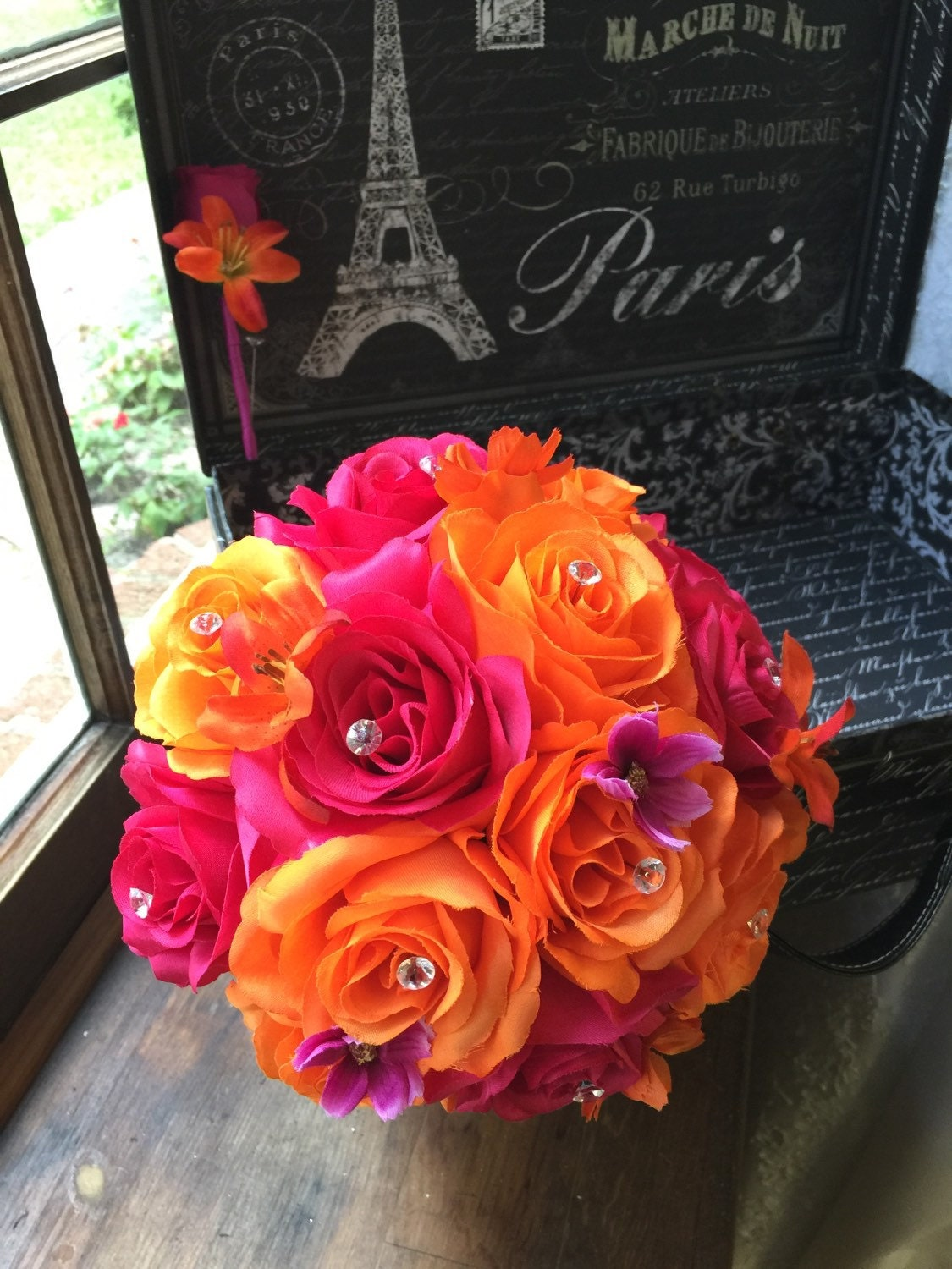 orange hot pink wedding bouquet with boutonniere pink orange. Black Bedroom Furniture Sets. Home Design Ideas