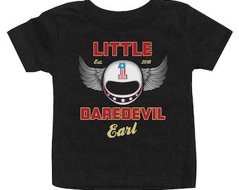 "Personalized ""Little Daredevil"" shirt, Motorcycle Helmet birthday shirt"