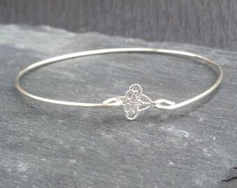 Tiny Fleur de Lis Filigree Jewelry | French Bracelet | Silver Fleur-De-Lis Bracelet | Paris Jewelry Paris Bracelet, Silver Bangle Bracelet