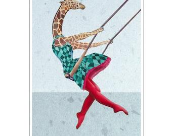 Animal painting portrait painting  Giclee Print Acrylic Painting Illustration Print wall art wall decor Wall Hanging: Giraffe on a swing-1