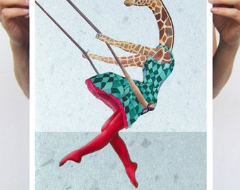 Giraffe on a swing - 2 : Art Print Poster A3 Illustration Giclee Print Wall art Wall Hanging Wall Decor Animal Painting Digital Art