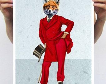 Art Print painting drawing illustration portrait painting mixed media digital print POSTER 11x16: Fox Gentleman - Coco de Paris