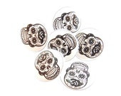"6 SMALL SIZE Sugar Skull Sewing Buttons.  Black and White Handmade Buttons. 1/2"" or 13 mm Shank Style Skull Buttons for sewing."