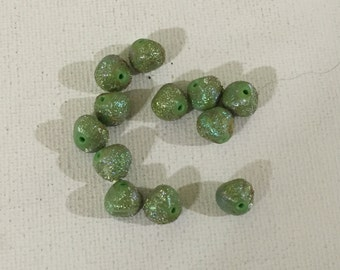 12 West Germany Vintage Swarovski 9mm Light Green AB Sugar Coated Beads