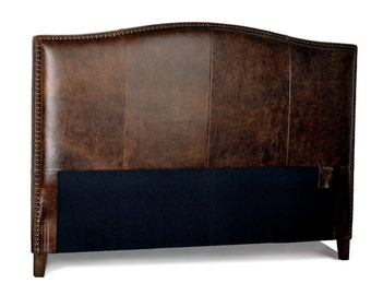 California King Size Antique brown Leather headboard for Bed with Distressed Nail Heads