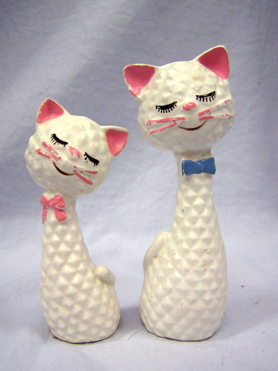 Vintage 1960 70s Inarco White Ceramic Cat Figurines Animal
