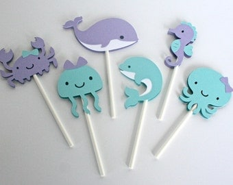 Under the Sea Cupcake Toppers - Aqua and Lavender - Mermaid Party