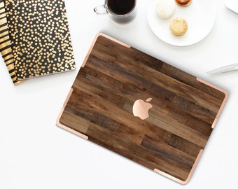 Dark Varnished Wood with Rose Gold Accents Hybrid Hard Case for Apple Macbook Air & Mac Pro Retina, New Macbook 12""