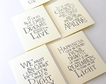 Set of 6 Harry Potter/Albus Dumbledore Quote Cards, inspirational quote handmade card, birthday gift for potter head, party favor for kids