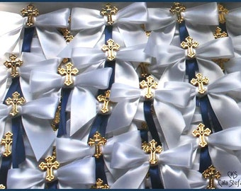 6 Dozen Martyrika Witness Pins with Byzantine cross and crisp white bow with color accent.