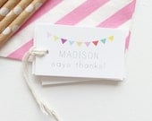 Birthday Party Favor Tags Bunting Party Favor Personalized Gift Tags Custom Party Tags Rainbow Bunting Baby Shower Kids Rainbow Party Decor