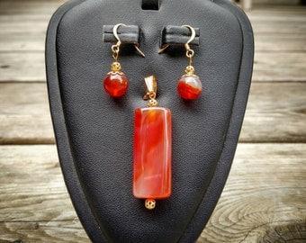 Carnelian and brass pendant and earrings