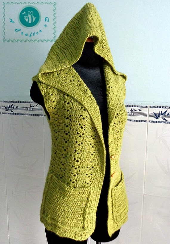Crocheted hooded vest ( size S/M ) - free worldwide shipping