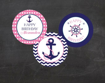 """Nautical Birthday Custom Printable  2"""" Party Circles/Cupcake Toppers - Pink and Blue"""