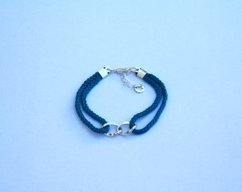 Sailor bracelet - Navy blue cordage and silver plated elements and chain - Blue riggings, silver plated infinity sign - Summer fashion