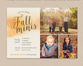 Fall Mini Session Template - Photography Marketing board - Fall Minis Psd template - INSTANT DOWNLOAD - Watercolor Fall MFS005