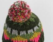Pom Pom Beanie, Chunky Hat, Knitted Beanie, Triangle Pattern, Colorful Knit Hat, Women Fair Isle Beanie, Winter Hat, Fall Fashion, Teens Hat