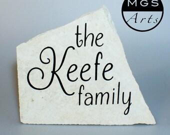 Personalized Engraved Garden Stone - Family Name Housewarming Gift