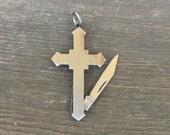 Cross shaped Knife Pendant. Vintage 1970s. pocket knife. dudes. stainless steel metal. christian jewelry crucifix Fob m95