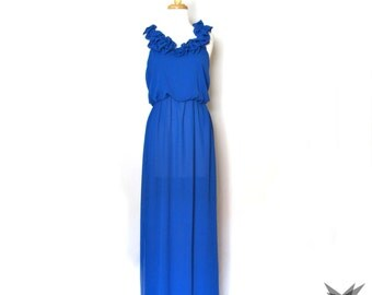 Vintage 1970's/80's Sheer Royal Blue Ruffled High Slit Gown Maxi Dress Size Medium