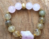 Rose Quartz Bracelet / Rutilated Quartz Bracelet / Bohemian Bracelet / Raw Gemstone Bracelet