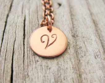 Copper Hand Stamped Initial Necklace~Personalized~Choose Your Initial