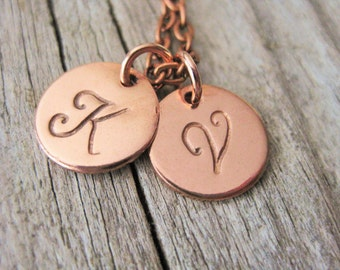 Copper Two Initial Hand Stamped Necklace~Personalized~Choose Your Initial
