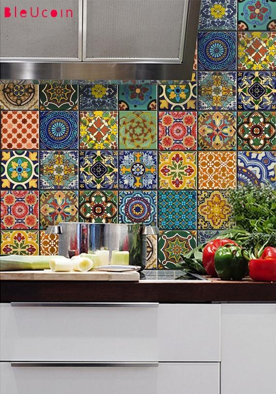 Bleucoin No 21 Mexican Talavera Tile Wall Stair Floor