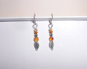 Amber glass silver tone leaf pierced earrings handmade 1990s dangle earrings