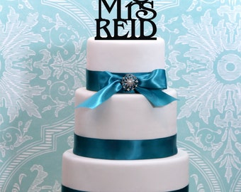 """Wedding Cake Topper Or Sign Monogram  personalized with """"Mr & Mrs"""" and YOUR Last Name"""