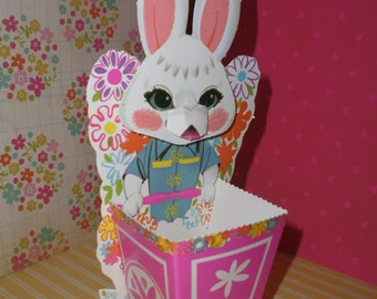 Adorable Easter Bunny Vintage Candy Holder Punch Out, Unpunched FUN