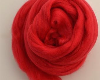SCARLET RED - Merino Wool Roving 1oz