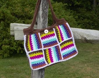 Patchwork Tote Bag - PDF pattern ONLY - Purse, Tote, Handbag, Retro, Vintage, Stripes, Crochet