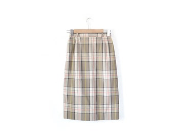 Plaid Skirt Pencil Cotton 1960s Skirt Vintage Clothing / Vintage Skirt / Womens Clothing Day Dress