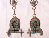 VIntage Zuni DISHTA Sterling Silver TURQUOISE Inlay EARRINGS Covered Wagon Wheel