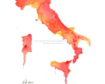 Italy map - Print of original watercolor illustration