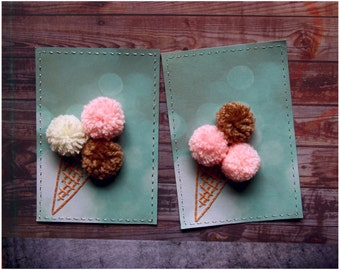 Hand Stitched cards 3D Ice cream card Gift for kids Original Handmade gift for little ones Blank inside Greeting cards 30%sale FREE SHIPPING