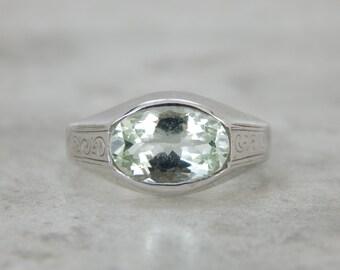 Art Deco Green Beryl Ring in Bright White Gold