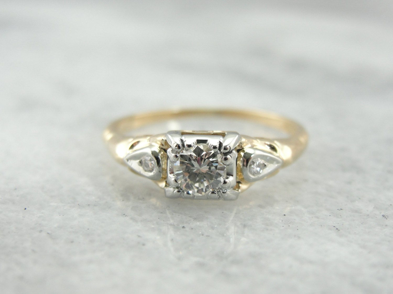 Retro Era Diamond Three Stone Engagement Ring Yellow Gold