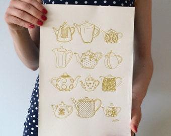 vintage tea pots art print / gold ink print / gift for tea lover / kitchen wall art / tea pot illustration print / teapots home decor
